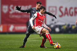 January 13, 2018 - Braga, Braga, Portugal - Braga's Portuguese midfielder Joao Carlos Teixeira (R) vies with BBenfica's Greek midfielder Andreas Samaris (L) during the Premier League 2017/18 match between SC Braga and SL Benfica, at Municipal de Braga Stadium in Braga on January 13, 2018. (Credit Image: © Dpi/NurPhoto via ZUMA Press)