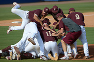 College of Charleston players celebrate on the field after their 4-2 win over Long Beach State in an NCAA college baseball regional tournament game in Gainesville, Fla., Monday, June 2, 2014.(AP Photo/Phelan M. Ebenhack)