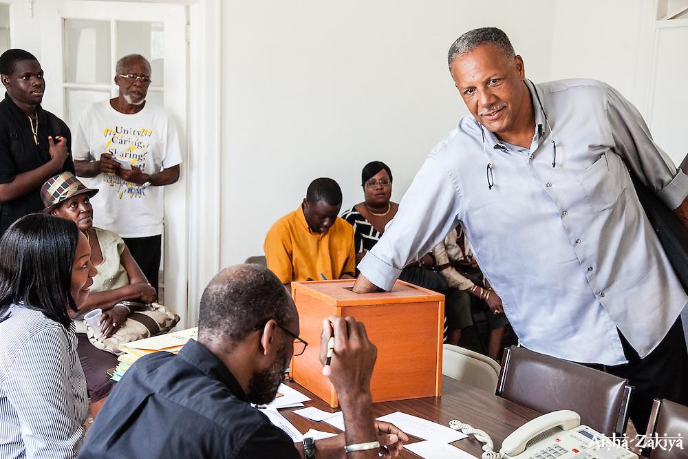 Senate candidate Kent Bernier Sr. draws #36.  Casting of Lots.  Board of Elections.  10 September 2012.  © Aisha-Zakiya Boyd