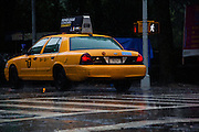 A New York cab in the pouring rain. Lights reflected in the wet road.