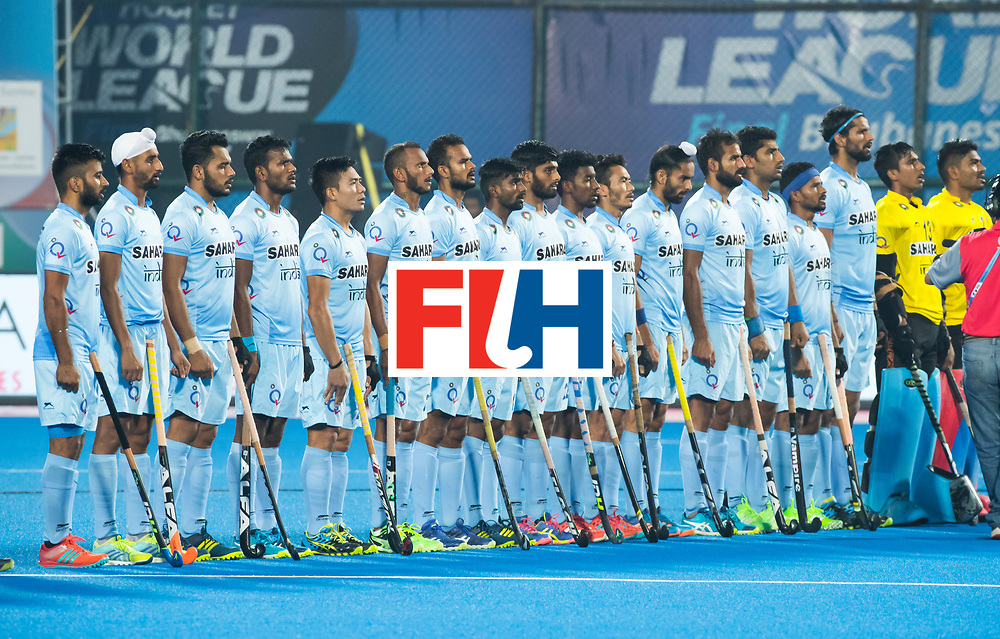 BHUBANESWAR - Line up India. Hockey World League finals Match for bronze , Germany v India (1-2). COPYRIGHT KOEN SUYK
