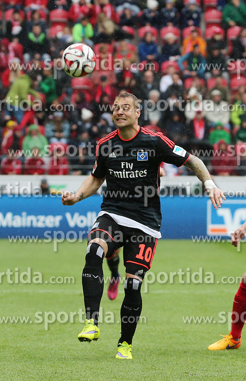 03.05.2015, Coface Arena, Mainz, GER, 1. FBL, 1. FSV Mainz 05 vs Hamburger SV, 31. Runde, im Bild v.l.: Pierre-Michel Lassoga (HSV) gegen Julian Baumgartlinger (Mainz) // during the German Bundesliga 31th round match between 1. FSV Mainz 05 and Hamburger SV at the Coface Arena in Mainz, Germany on 2015/05/03. EXPA Pictures &copy; 2015, PhotoCredit: EXPA/ Eibner-Pressefoto/ Neurohr<br /> <br /> *****ATTENTION - OUT of GER*****