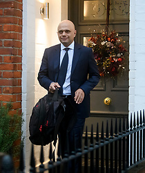© Licensed to London News Pictures. 31/12/2018. London, UK. Home Secretary SAJID JAVID is seen leaving his London after returning home early form a family holiday to deal with the increased numbers of migrants crossing the English Channel from France. Photo credit: Ben Cawthra/LNP