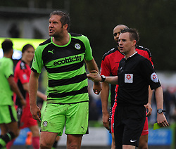 Forest Green Rovers's Jonathan Parkin shows his frustration after he is given a yellow card. - Photo mandatory by-line: Nizaam Jones - Mobile: 07966 386802 - 25/04/2015 - SPORT - Football - Nailsworth - The New Lawn - Forest Green Rovers v Dover - Vanarama Conference League