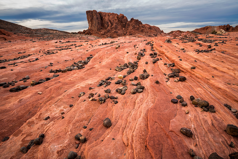 Rocky paths settle into lines that cover the sandstone in Valley of Fire State Park in Nevada.