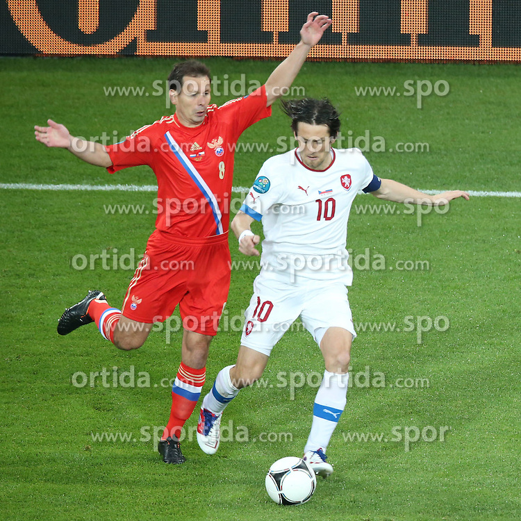 08.06.2012, Staedtisches Stadion, Breslau, POL, UEFA EURO 2012, Russland vs Tschechien, Gruppe A, im Bild KONSTANTIN ZYRIANOW (RUS) TOMAS ROSICKY (CZE) // during the UEFA Euro 2012 Group A Match between Russia and Czech Republic at the Municipal Stadium, Wroclaw, Poland on 2012/06/08. EXPA Pictures © 2012, PhotoCredit: EXPA/ Newspix/ Maciej Opala..***** ATTENTION - for AUT, SLO, CRO, SRB, SUI and SWE only *****
