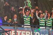 Celtic Captain Collects the Betfred Scottish League Cup  during the Betfred Scottish League Cup Final match between Rangers and Celtic at Hampden Park, Glasgow, United Kingdom on 8 December 2019.