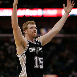 Mar 01, 2010; New Orleans, LA, USA; San Antonio Spurs forward Matt Bonner (15) celebrates after making a shot to end the first half against the New Orleans Hornets at the New Orleans Arena. Mandatory Credit: Derick E. Hingle-US PRESSWIRE