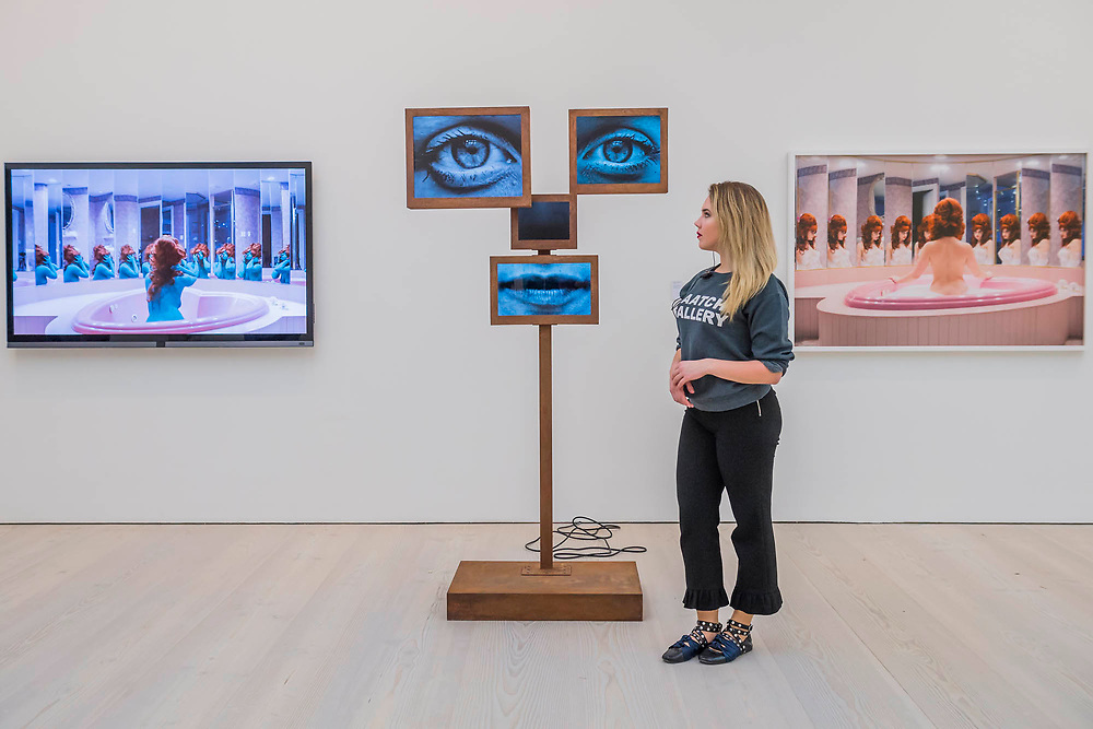 Self-Delusion, 2017, by Charlotte Colbert (Flanked by Honeymoon suite by June Calypso) - Selfies by contemporary artists - From Selfie to Self-Expression at the Saatchi Gallery. The exhibition looks at the history of the Selfie from portrait artists though to modern day selfies and features self-portraits by Rembrandt, Van Gogh, Lucian Freud, Cindy Sherman, Tracey Emin, through to modern day selfies from Kim Kardashian, Hillary Clinton, Ryan Gosling, Trump and others. In addition part of the exhibition includes an international selfie competition; over 14,000 selfies have been submitted to the competition and will be exhibited at the gallery alongside other art works. The show is sponsored by Huawei and runs from 31st March – 30th May 2017.