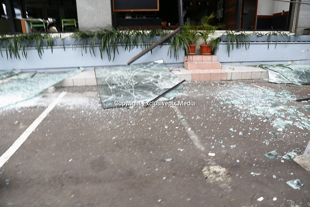 Jan. 13, 2016 - Jakarta, Jakarta, Indonesia - <br /> <br /> Pieces of glass from window broken after the bombing at starbucks cafe. Several terrorist attack starbucks cafe at sarinah-Jakarta, causing around 6 people dead.<br />  ©Exclusivepix Media