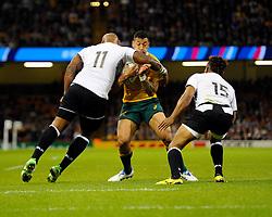 Fiji Winger Nemani Nadolo catches Australia Full Back Israel Folau with a high tackle  - Mandatory byline: Joe Meredith/JMP - 07966386802 - 23/09/2015 - Rugby Union, World Cup - Millenium Stadium -Cardiff,Wales - Australia v Fiji - Rugby World Cup 2015 - Pool A