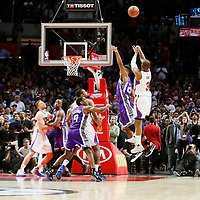 26 March 2016: LA Clippers guard Chris Paul (3) takes a jump shot at the buzzer on Sacramento Kings guard Buddy Hield (24) during the Sacramento Kings 98-97 victory over the Los Angeles Clippers, at the Staples Center, Los Angeles, California, USA.