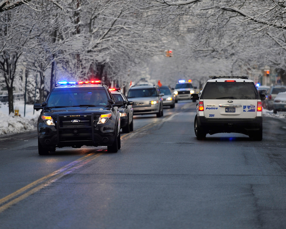 """A funeral service and procession is held for longtime Bethlehem Emergency Medical Service employee William """"Billy"""" Guth Jr. on March 21, 2015, in Bethlehem. (Chris Post 