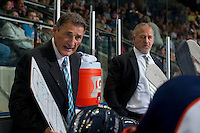 KELOWNA, CANADA - SEPTEMBER 20: Don Hay, head coach of the Kamloops Blazers goes over a play during time out at the bench against the Kelowna Rockets on September 20, 2014 at Prospera Place in Kelowna, British Columbia, Canada.   (Photo by Marissa Baecker/Shoot the Breeze)  *** Local Caption *** Don Hay; Mark Ferner;