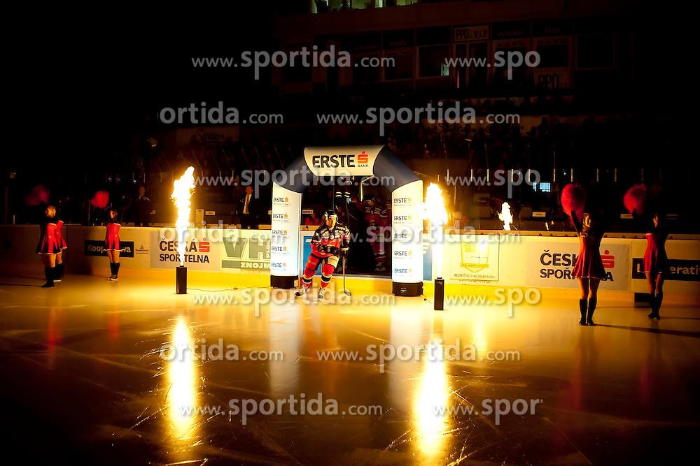 11.10.2015, Ice Rink, Znojmo, CZE, EBEL, HC Orli Znojmo vs UPC Vienna Capitals, 10. Runde, im Bild Roman Tomas (HC Orli Znojmo) // during the Erste Bank Icehockey League 10th round match between HC Orli Znojmo and UPC Vienna Capitals at the Ice Rink in Znojmo, Czech Republic on 2015/10/11. EXPA Pictures © 2015, PhotoCredit: EXPA/ Rostislav Pfeffer