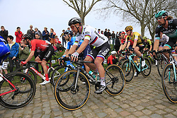 The peloton including Peter Sagan (SVK) and Daniel Oss (ITA) Bora-Hansgrohe on the Padderstraat during the 2019 Ronde Van Vlaanderen 270km from Antwerp to Oudenaarde, Belgium. 7th April 2019.<br /> Picture: Eoin Clarke | Cyclefile<br /> <br /> All photos usage must carry mandatory copyright credit (© Cyclefile | Eoin Clarke)