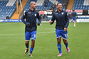 Bury Forward, Jermaine Beckford (9) and Bury Midfielder, Chris Humphrey (17)  during the EFL Sky Bet League 1 match between Bury and Milton Keynes Dons at the JD Stadium, Bury, England on 30 September 2017. Photo by Mark Pollitt.