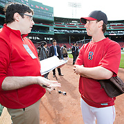 Craig Breslow #32 of the Boston Red Sox (R) speaks in an exclusive interview with Times of Israel reporter, Matt Lebovic (L) during Fenway Park's Jewish Heritage Night at the game between the Atlanta Braves and the Boston Red Sox at Fenway Park on May 29, 2014 in Boston, Massachusetts. (Photo by Elan Kawesch)