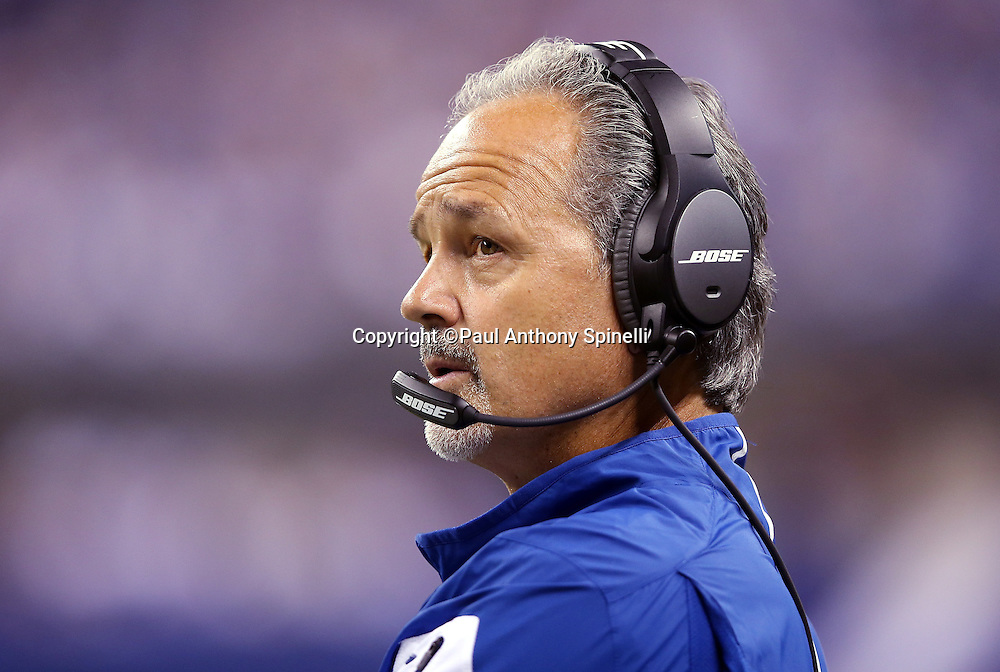 Indianapolis Colts head coach Chuck Pagano looks on from the sideline during the 2015 NFL week 2 regular season football game against the New York Jets on Monday, Sept. 21, 2015 in Indianapolis. The Jets won the game 20-7. (©Paul Anthony Spinelli)