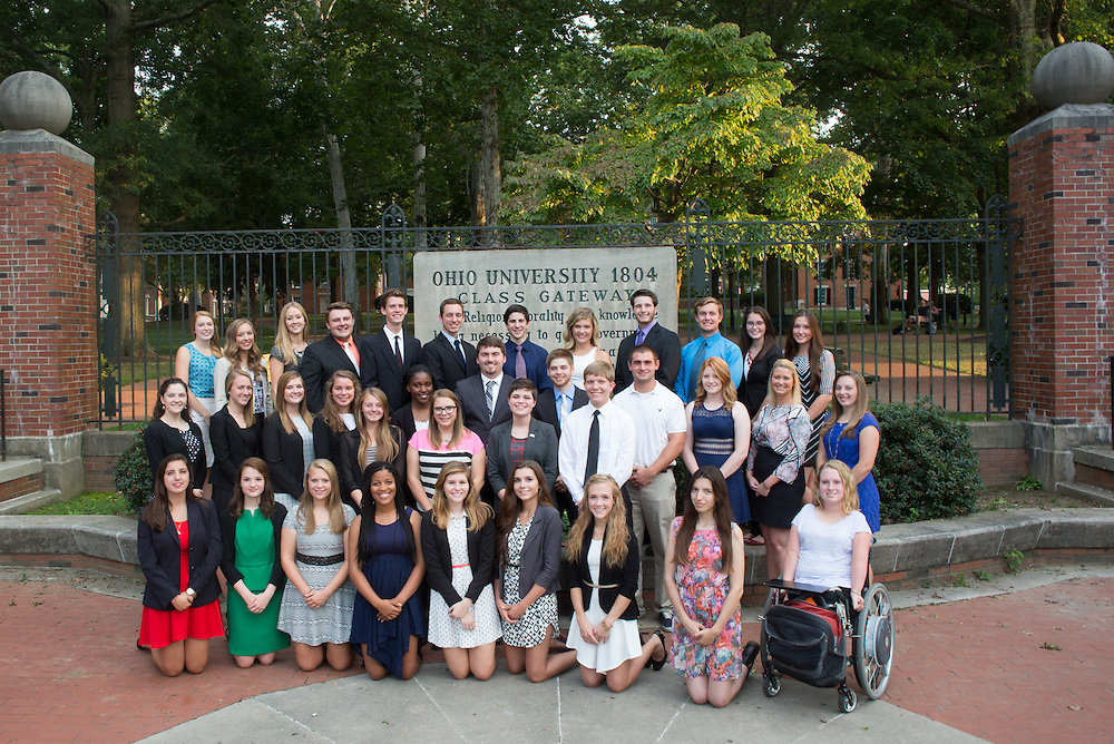 The Cutler Scholars pose for a group portrait in front of the Class Gateway on College Green on September 1, 2015. Photo by Emily Matthews