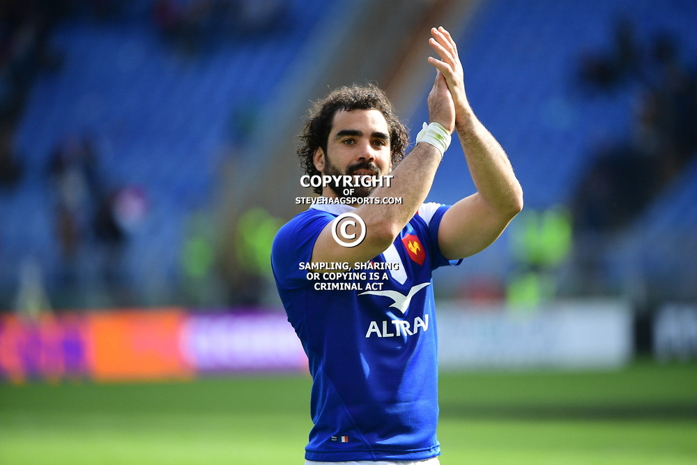 Yoann Huget of France on the lap of honour following the Guinness Six Nations match between Italy and France on March 16, 2019 in Rome, Italy. (Photo by Dave Winter/Icon Sport)