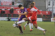 - Dan Holman and Ian Gayle during the Vanarama National League match between Welling United and Cheltenham Town at Park View Road, Welling, United Kingdom on 5 March 2016. Photo by Antony Thompson.