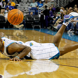 January 16, 2012; New Orleans, LA, USA; New Orleans Hornets point guard Jarrett Jack (2) loses the ball against the Portland Trail Blazers during the first quarter of a game at the New Orleans Arena.   Mandatory Credit: Derick E. Hingle-US PRESSWIRE