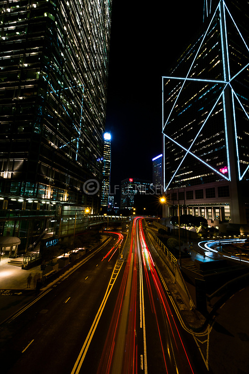 Night traffic in Hong Kong