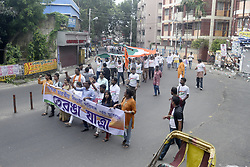 August 15, 2017 - Kolkata, West Bengal, India - ABVP activist shout nationalistic slogan during the rally with 360 ft Indian Tri Color flag in Kolkata. Akhil Bharatiya Vidyrathi Parishad activists rally with 360 ft Indian Tri Color flag on the occasion of Independence Day on August 15, 2017 in Kolkata. (Credit Image: © Saikat Paul/Pacific Press via ZUMA Wire)