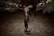 New Year's Eve (December 31) in Belgrade, Serbia. Parliament square and Pionirski Park. Sculpture.