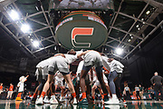 January 20, 2019: Members of the Miami Hurricanes huddle up before the NCAA basketball game between the Miami Hurricanes and the North Carolina Tar Heels in Coral Gables, Florida. The 'Canes defeated the Tar Heels 76-68.