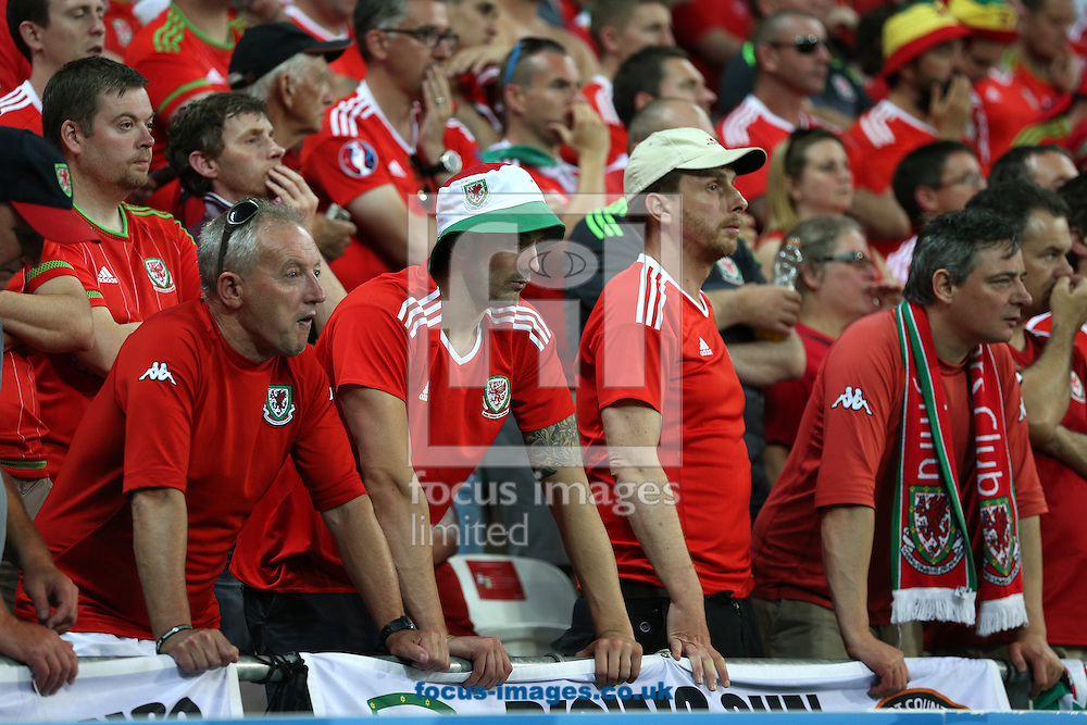 Wales fans look dejected after their side concedes a 2nd goal during the UEFA Euro 2016 semi-final match at Stade de Lyons, Lyons<br /> Picture by Paul Chesterton/Focus Images Ltd +44 7904 640267<br /> 06/07/2016