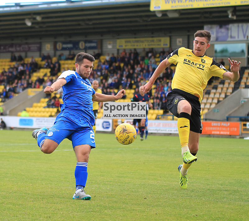 Livingston V Queen of the South Scottish Championship 15 August 2015; Queen of the South's Lewis Kidd & Livingston's Declan Gallagher during the Livingston V Queen of the South Scottish Championship match played at The Energy Assets Arena, Livingston.