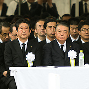 NAGASAKI, JAPAN - AUGUST 9 : Japanese Prime Minister Shinzo Abe attends 72nd Anniversary Ceremony for the atomic bomb victims in front of the Nagasaki Peace Park in Nagasaki, southern Japan on Wednesday, August 9, 2017. Japan marked the 72nd anniversary of the atomic bombing on Nagasaki. (Photo: Richard Atrero de Guzman/NUR Photo)