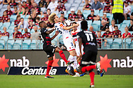 SYDNEY, NSW - JANUARY 18: Adelaide United midfielder Ben Halloran (26) and Western Sydney Wanderers midfielder Roly Bonevacia (28) fight for the ball at the Hyundai A-League Round 14 soccer match between Western Sydney Wanderers and Adelaide United at ANZ Stadium in NSW, Australia 18 January 2019. Image by (Speed Media/Icon Sportswire)