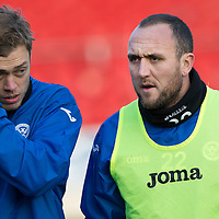 St Johnstone Training....30.12.14<br /> Lee Croft pictured alongside Murray Davidson who has recovered from an abcess in training this morning ahead of the New Years Day game at Aberdeen.<br /> Picture by Graeme Hart.<br /> Copyright Perthshire Picture Agency<br /> Tel: 01738 623350  Mobile: 07990 594431
