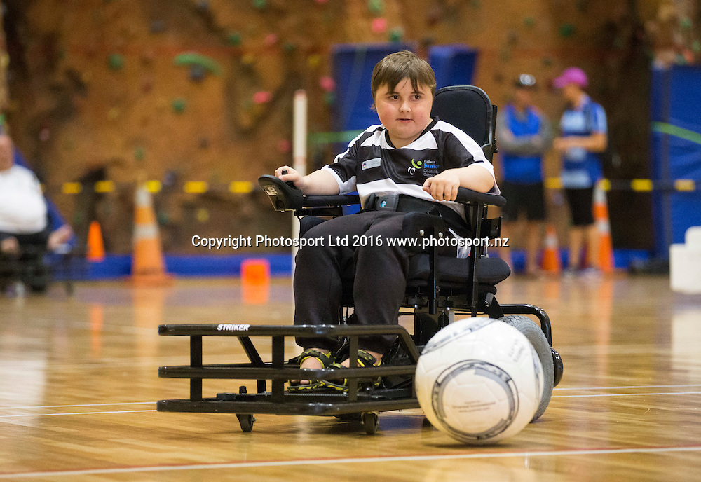 Power chair football, Day 1, Halberg Junior Disability Games, St Peter's School, Cambridge, New Zealand. Friday, 22 April, 2016. Copyright photo: John Cowpland / www.photosport.nz