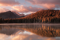 sunrise over a high mountain lake in the Colorado Rockies