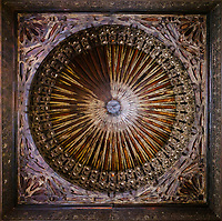FEZ, MOROCCO - CIRCA MAY 2018:  Detail of wooden ceiling and cupola of the Attarine Madrasa in Fez.