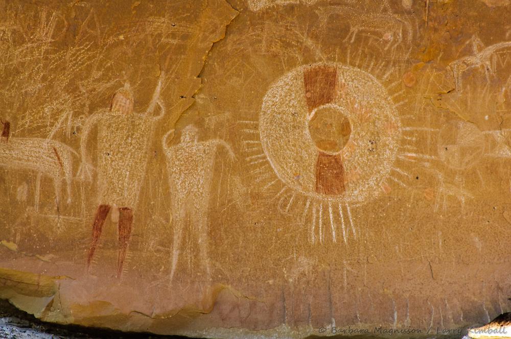 Pictograph, Historic Ute, Horses, Patterns, Human figures, Thompson, Sego Canyon Wash, San Rafael Swell, Utah