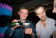 MARTIN PARR; GEOFF DYER, HAUNCH OF VENISON PARTY IN HONOUR OF RAFAEL LOZANO-HEMMER. The Bloomsbury Ballroom. Bloomsbury Sq. London. 14 October 2008 *** Local Caption *** -DO NOT ARCHIVE -Copyright Photograph by Dafydd Jones. 248 Clapham Rd. London SW9 0PZ. Tel 0207 820 0771. www.dafjones.com