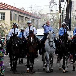 February 21, 2012; New Orleans, LA, USA; New Orleans Mayor Mitch Landrieu -- on horseback center -- leading the Krewe of Zulu along the uptown New Orleans St. Charles Avenue parade route throwing beads, painted coconuts and various trinkets on Mardi Gras day. Mardi Gras is an annual celebration that ends at midnight with the start of the Catholic Lenten season which begins with Ash Wednesday and ends with Easter. Photo by: Derick E. Hingle