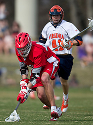 Cornell Big Red M Roy Lang (48) fields a loose ball against UVA.  The #1 ranked Virginia Cavaliers defeated the #4 ranked Cornell Big Red 14-10 at Klockner Stadium on the Grounds of the University of Virginia in Charlottesville, VA on March 8, 2009.