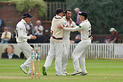 Wicket - Lewis Gregory of Somerset celebrates taking the wicket of Chris Nash of Nottinghamshire with Tom Abell and Dom Bess of Somerset of Somerset during the Specsavers County Champ Div 1 match between Somerset County Cricket Club and Nottinghamshire County Cricket Club at the Cooper Associates County Ground, Taunton, United Kingdom on 10 June 2018. Picture by Graham Hunt.