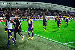 Agim Ibraimi of Maribor and other players of Maribor after the football match between NK Maribor, SLO  and Chelsea FC, ENG in Group G of Group Stage of UEFA Champions League 2014/15, on November 5, 2014 in Stadium Ljudski vrt, Maribor, Slovenia. Photo by Vid Ponikvar / Sportida