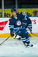 PENTICTON, CANADA - SEPTEMBER 8: Kameron Keilly #91 of Winnipeg Jets warms up against the Vancouver Canucks on September 8, 2017 at the South Okanagan Event Centre in Penticton, British Columbia, Canada.  (Photo by Marissa Baecker/Shoot the Breeze)  *** Local Caption ***