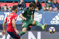 Unai Garcia of Club Atletico Osasuna competes for the ball with Raul Garcia of Athletic Club during the match of  La Liga between Club Atletico Osasuna and Athletic Club Bilbao at El Sadar Stadium  in Pamplona, Spain. April 01, 2017. (ALTERPHOTOS / Rodrigo Jimenez)