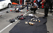 Jan. 13, 2016 - Jakarta, Jakarta, Indonesia -<br /> <br /> Police inspect the terrorist victim on location. Several terrorist attack starbucks cafe at sarinah-Jakarta, causing arround 6 people dead. ©Exclusivepix Media