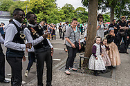 Participants after taking part in the Great Parade at the Festival de Cornouaille on Sunday, July 24, 2016 in Quimper, France.