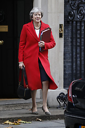 © Licensed to London News Pictures. 22/11/2017. London, UK. Prime Minister Theresa May leaves Downing Street for Parliament to hear Chancellor Philip Hammond deliver his budget. Photo credit: Peter Macdiarmid/LNP